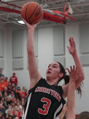 Crestview's Renee Stimpert goes for a layup Feb. 25 against Seneca East during the Division III district tournament at Shelby High School.