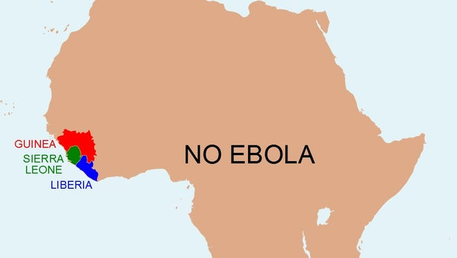A map produced by Anthony England, a British chemist, to show how much of Africa is not affected by Ebola.