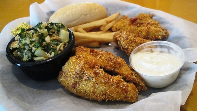 The fish fry at Anglers Avenue on South Pier in Sheboygan serves pretzel crusted perch and bluegill.