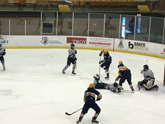 Austin Barlass scores the game tying goal Saturday for Port Huron Northern