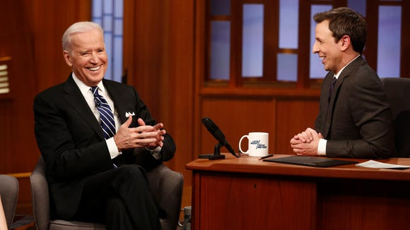 "Vice President Joe Biden on the first episode of ""Late Night with Seth Meyers"" in 2014."