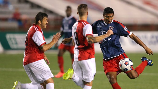 Indy Eleven midfielder Sergio Pena (shown here August 23, 2014) scored in the 89th minute Saturday to beat San Antionio.