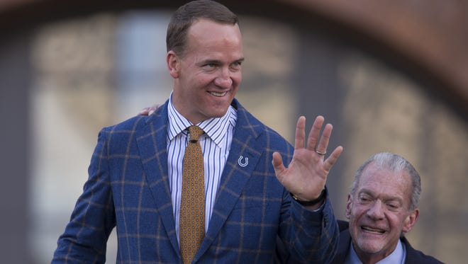 Peyton Manning, with Colts owner Jim Irsay, before the unveiling of the new Manning statue in front of Lucas Oil Stadium, Indianapolis, Saturday, Oct. 7, 2017.