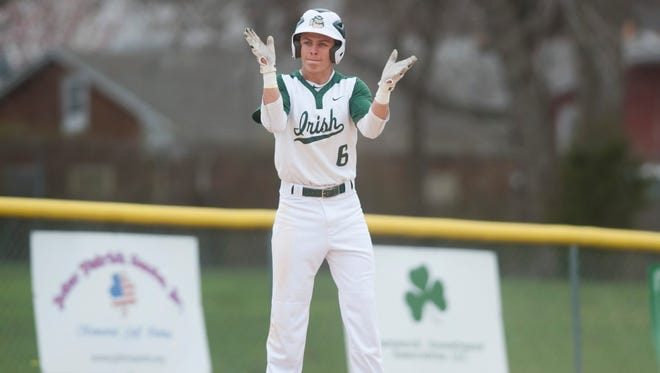 Camden Catholic's Colin Cummins reacts after hitting a triple in the 3rd inning of Monday's baseball game between Camden Catholic and Washington Township played at Camden Catholic High School in Cherry Hill.