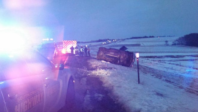 A vehicle rolled on I-29 near mile marker 98 on Friday night.