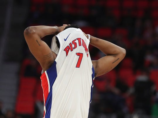 Detroit Pistons forward Stanley Johnson walks up the court after missing a shot during the second half of the team's NBA basketball game against the Philadelphia 76ers, Wednesday, April 4, 2018, in Detroit. (AP Photo/Carlos Osorio)