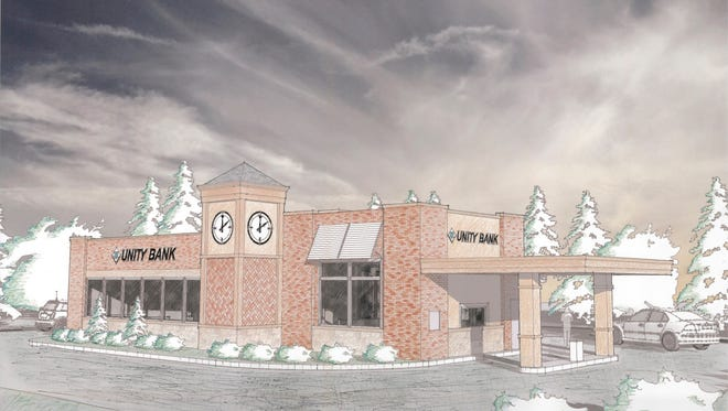 Clinton-headquartered Unity Bank plans to open its first Somerville branch this fall. Pictured is a rendering of the building's design.