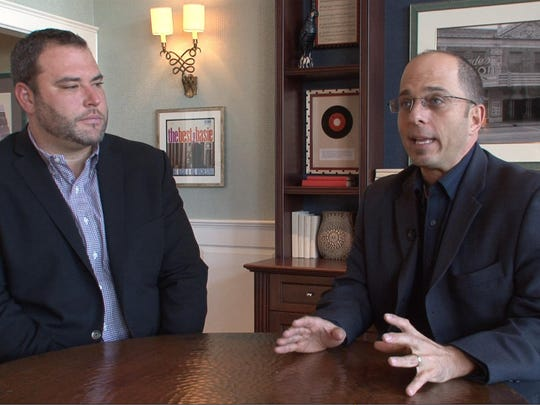 Adam Philipson (right) president & CEO of the Count Basie Theatre, and Izzy Sackowitz, vice president of operations discuss the plans for the expansion of the Red Bank venue along Monmouth Street.
