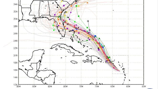 A so-called spaghetti model track map for Hurricane Dorian from Aug. 28, 2019.