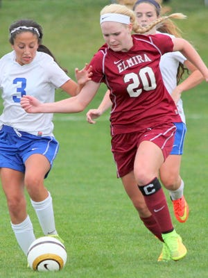 Elmira senior forward Sierra Barr, shown against Horseheads earlier this season, has scored 72 career goals in high school.