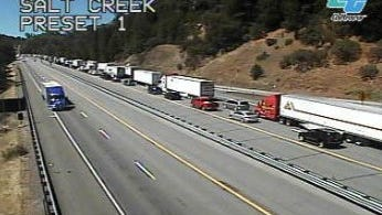 Traffic is backing up today on northbound Interstate 5 south of Lakehead because of paving in the area.