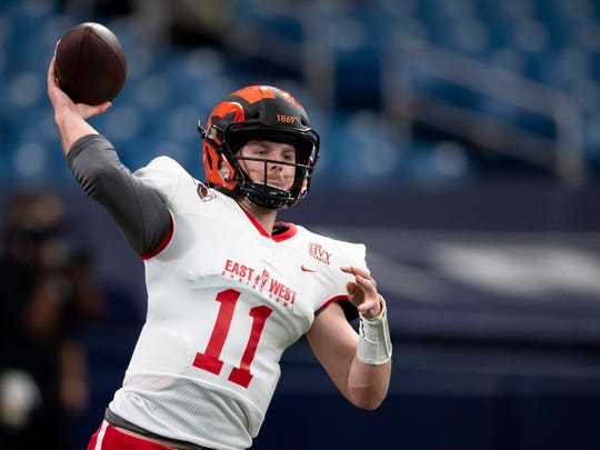 Jan 18, 2020; St. Petersburg, Florida, USA; Team East quarterback Kevin Davidson (11) warms up prior to the game between the Team East and the Team West at Tropicana Field. Mandatory Credit: Douglas DeFelice-USA TODAY Sports