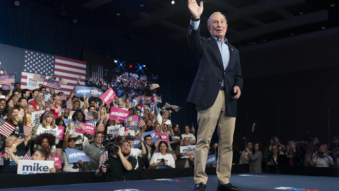 Presidential candidate Mike Bloomberg at his rally on Super Tuesday in Palm Beach County Covention Center in West Palm Beach, Florida on March 3, 2020.