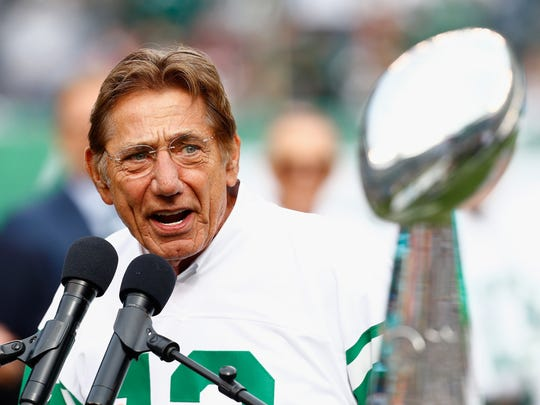 Jets legend Joe Namath presented the Vince Lombardi trophy to the Patriots on Sunday night, after they won their record-tying sixth Super Bowl.