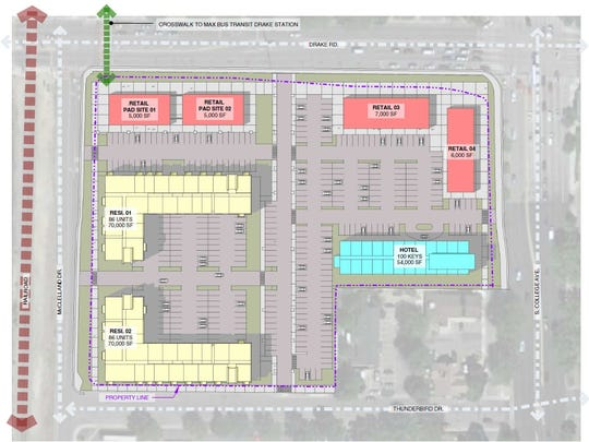 This site plan shows the location of proposed new buildings at the current site of Spradley Barr Mazda in Midtown Fort Collins.