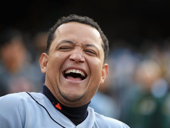 Miguel Cabrera of the Detroit Tigers laughs before