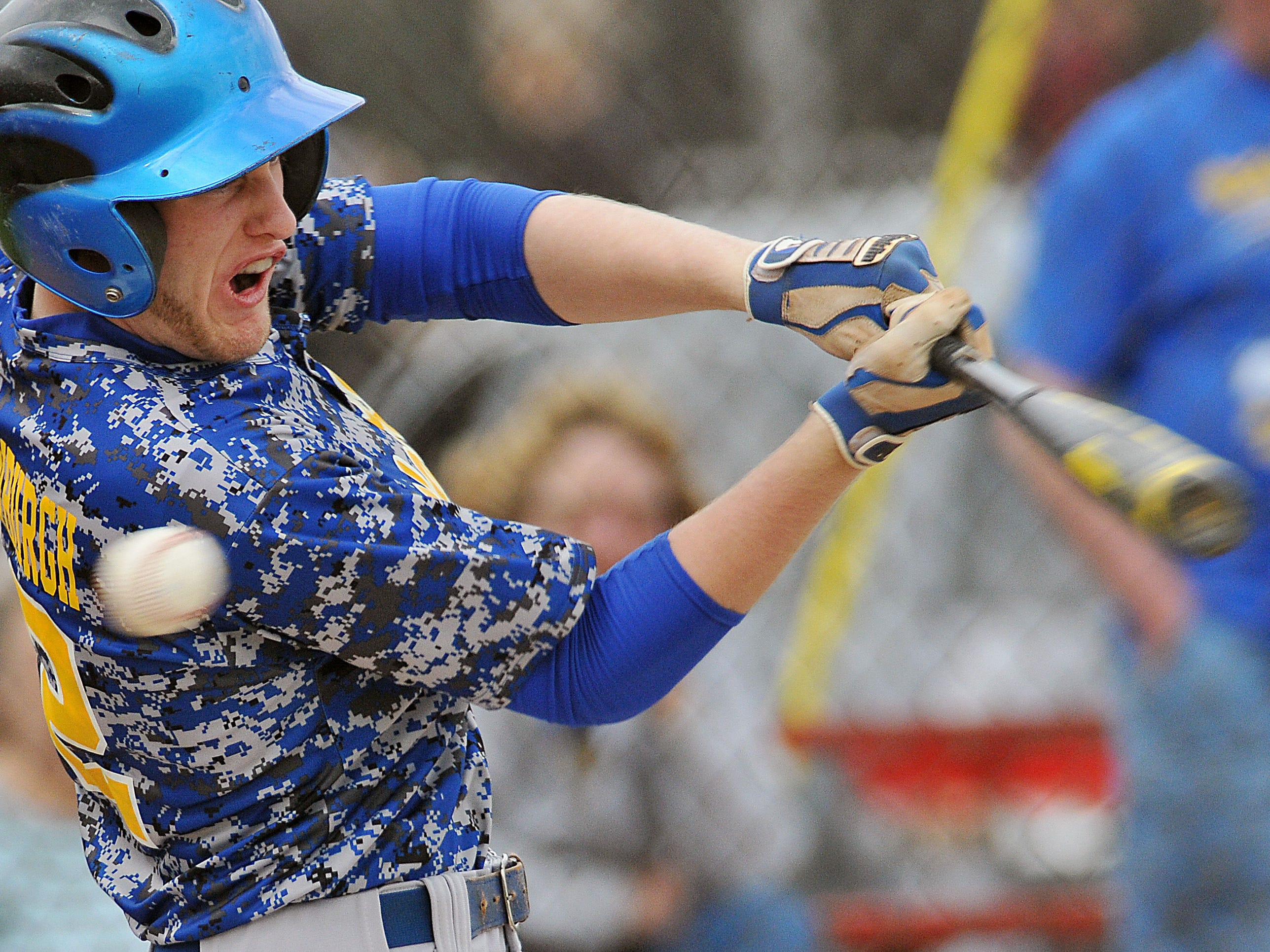 Ontario's Alex Vredenburgh takes a rip at a ball during a baseball game Monday against Shelby.