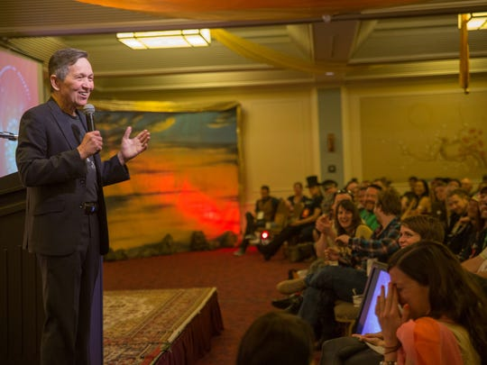 Former presidential candidate Dennis Kucinich speaks on April 11 at the 2015 Global Leadership Conference for Burning Man held at Hotel Kabuki in San Francisco.