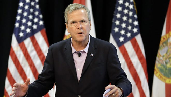 Republican presidential candidate, former Florida Gov. Jeb Bush speaks at a small business town hall meeting Monday in Longwood, Fla.