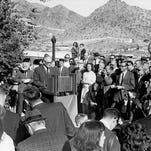 Scorpion Hill, near Lincoln Drive and 40th Street | Barry Goldwater announces his run for president Jan. 3, 1964, on the patio of his home in Paradise Valley.
