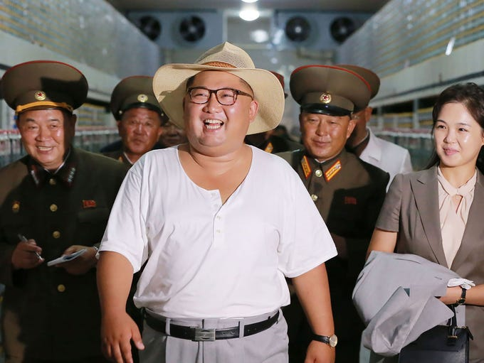 North Korean leader Kim Jong Un at the Kumsanpho Fish