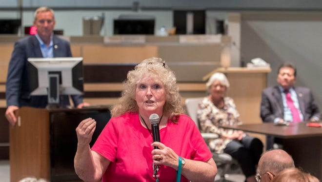 Las Cruces resident Dotty Magda gives her ideas on how the community can help the Las Cruces Public Schools at a town hall meeting Thursday, April 20, 2017, at Las Cruces City Hall.