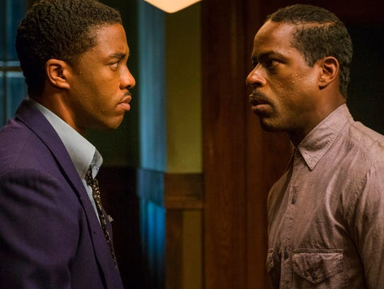 "Chadwick Boseman, left, and Sterling K. Brown in ""Marshall,"" playing at Regal West Manchester Stadium 13 and R/C Hanover Movies."