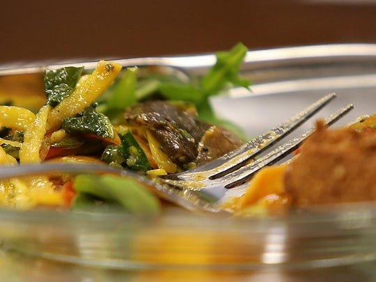 The second course, roasted vegetables with falafel croutons, is seen during a meal tasting at The Foundation on Wednesday