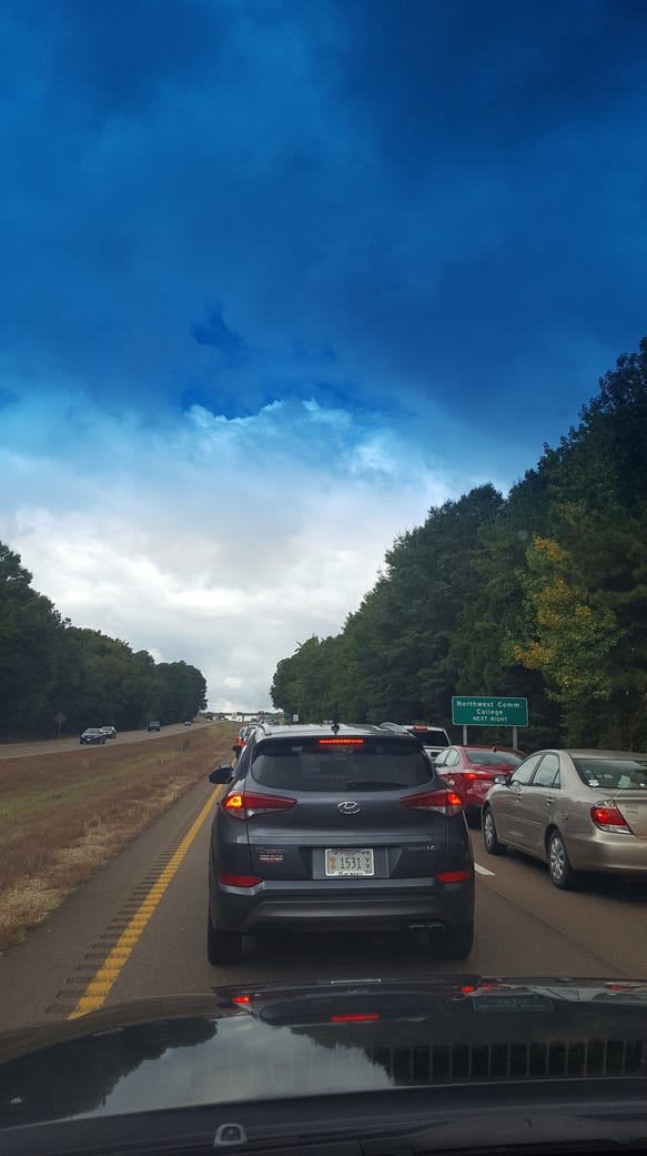 Cars waiting on Highway 6 heading to today's Alabama-Ole