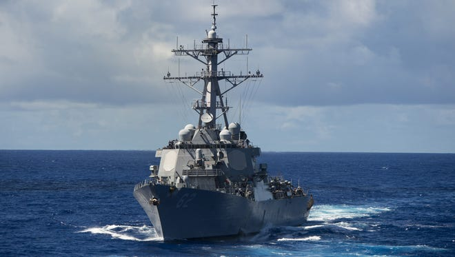 In this handout photo provided by the U.S. Navy, the guided-missile destroyer USS Fitzgerald is shown.