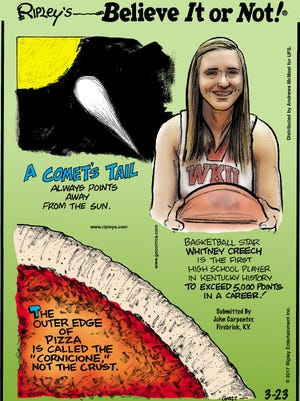 Whitney Creech, the state-record holding former Jenkins County basketball star and current WKU freshman, was featured in the March 23 Ripley's Believe it or Not comic strip.