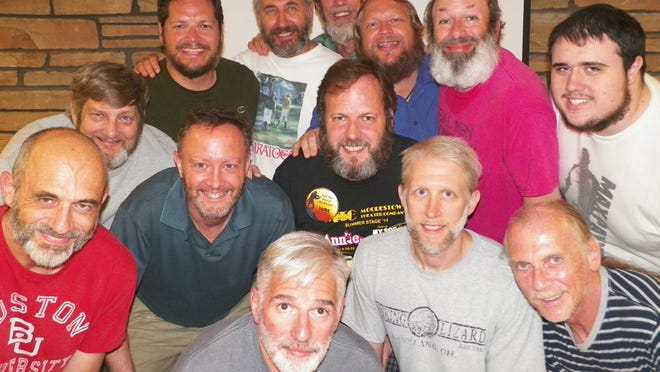 The 'bearded men' of the Moorestown Theater Company's 'Fiddler On The Roof' are (clockwise from top center): Richard Fischer, Bruce Jordan, Bruce DuBoff, Connell Devery, Todd Johnson, Ron Scott Dave Baldwin, Jay Vanston, Mark Hines, Don O'Brien, Kevin Aberant, Mark Pinzur, and Director Mark Morgan (center).