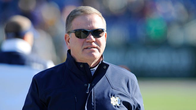 Notre Dame Fighting Irish head coach Brian Kelly prior to the game against the LSU Tigers in the Music City Bowl at LP Field.