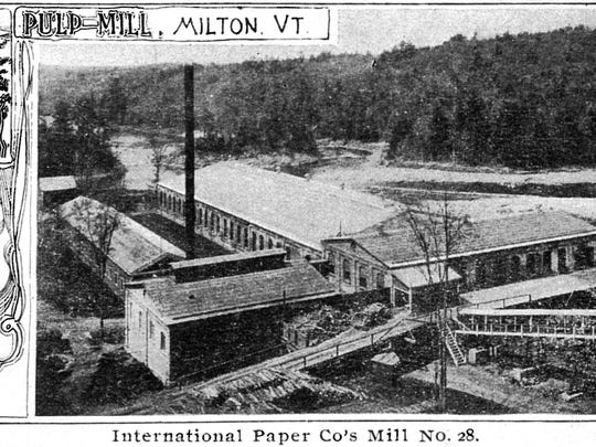 Postcard of the International Paper Co. Pulp Mill by the Lamoille River in Milton. It opened in 1898 and closed during a strike in 1925 never to open again.