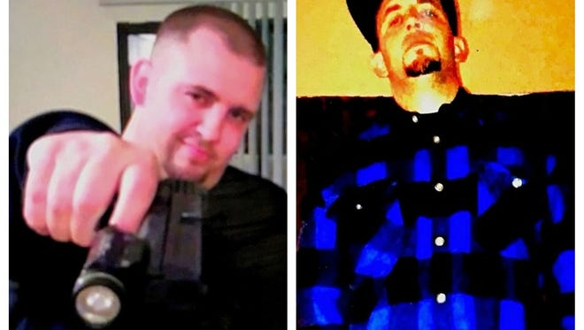 Two photos of Robert Choate Jr., 34, who was recently arrested on an assault charge for allegedly threatening his roommate with a shotgun and holding him at gunpoint.