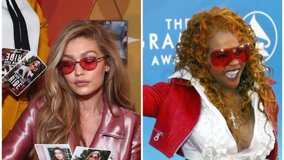 Gigi Hadid sported some pink lenses, a major throwback to when stars like Lil' Kim rocked the trend.