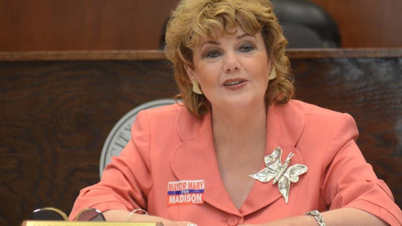 Incumbent Madison Mayor Mary Hawkins Butler presides over a Board of Aldermen meeting Tuesday evening at the Justice Complex. Butler, who has been is office for 32 years, faced Madison County Supervisor District 1 John Bell Crosby during the primary election.