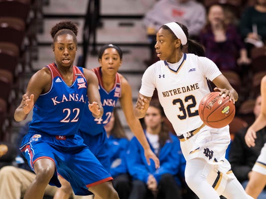 NCAA Womens Basketball: Notre Dame at Kansas