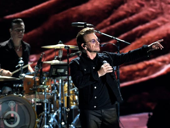 U2 performs at the Bonnaroo Music & Arts Festival in