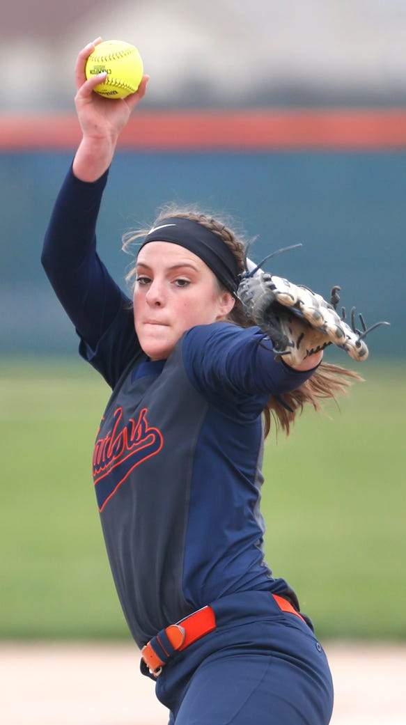 Harrison pitcher Jillian Mathis with the delivery to