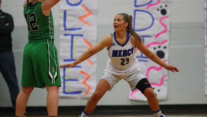 Mercy senior Maddie Haberthy plays defense against Seton on Feb. 2, 2017.