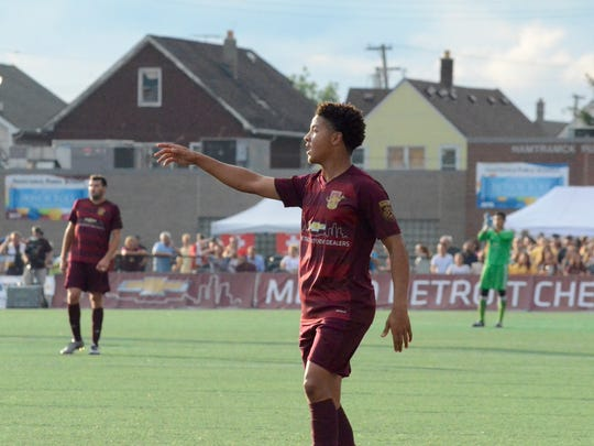 Detroit City FC forward Tyrone Mondi orchestrates his