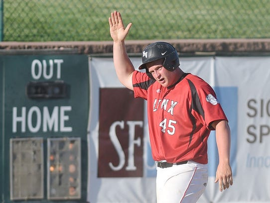 Brandon Valley's Cade Terveer hits a triple during