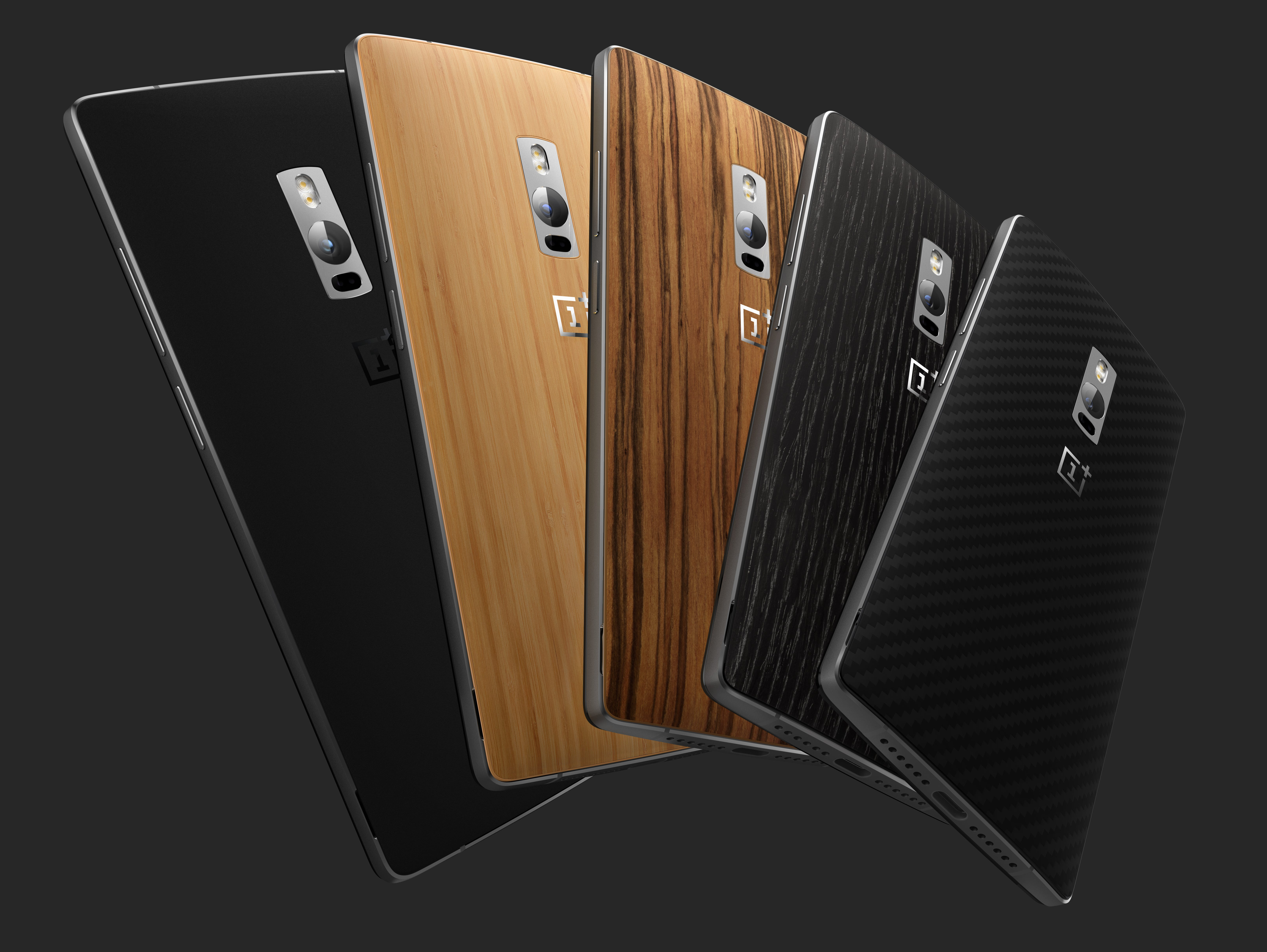 The swappable back covers for the OnePlus 2 include Bamboo, Black Apricot, Rosewood as well as Kevlar