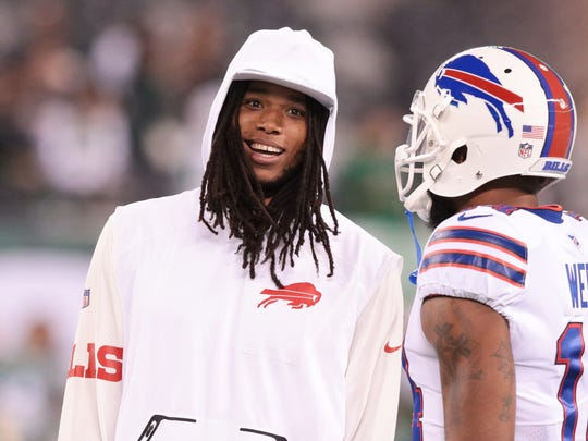 Buffalo Bills wide receiver Kelvin Benjamin (left) talks with wide receiver Joe Webb before the game against the New York Jets at MetLife Stadium. Benjamin recently was traded to Buffalo from the Carolina Panthers.