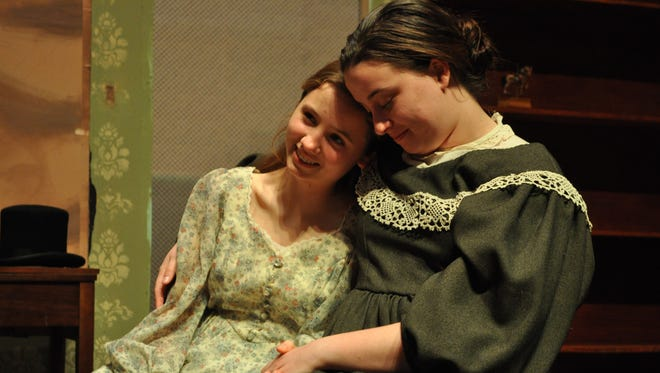 "Melody Mutch (right) acts as the mother of Beth March, played by Anna-Kate Christian, in Louisiana College's performance of ""Little Women."""