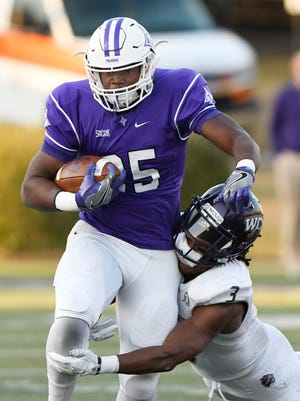 Furman's Antonio Wilcox (25) rushed for 202 yards in the Paladins' 28-6 win against No. 20 Western Carolina