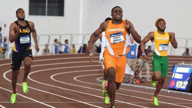 Christian Coleman of Tennessee won NCAA titles in the 60 meters and 200 indoors. He will try to win the 100 and 200 outdoors.