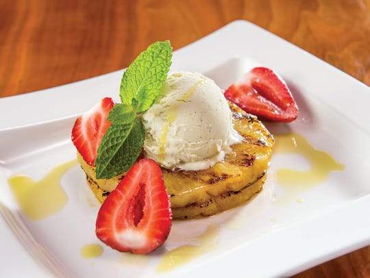 Olive Oil Ice Cream with Grilled Pineapple
