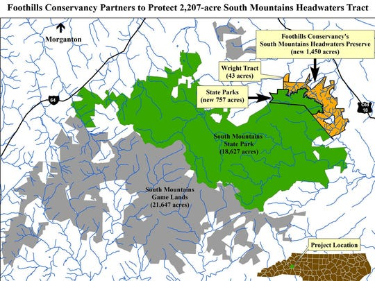 Foothills Conservancy of North Carolina, in partnership with N.C. Division of Parks and Recreation, the N.C. Clean Water Management Trust Fund and other funders, permanently conserved one of the largest remaining unprotected Catawba River Basin watershed tracts in the South Mountains.